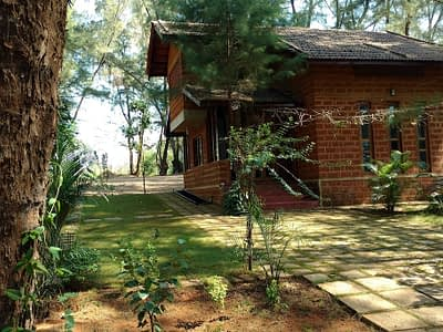 The living quarters of the villa is tucked in between casuarina trees